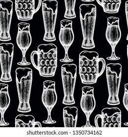 Graphic beer glasses of three different shapes. Vector seamless pattern drawn in engraving technique