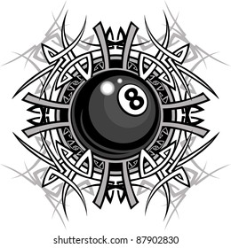 Graphic of a Billiards Eight ball with Tribal Borders