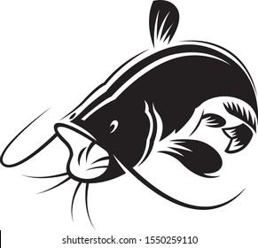 Graphic black catfish on white background, vector