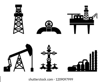 Graphic black flat set of oil and gas vector icons for petroleum industry: drilling, extraction and processing of oil and gas; onshore and offshore signs; EPS 10