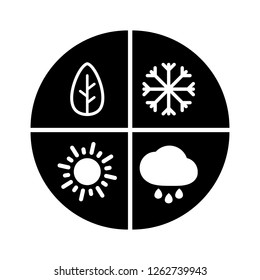 Graphic black flat vector all four seasons icon isolated. Winter, spring, summer, autumn - all year round sign. Snow, rain and sun symbols.