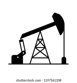 Graphic black flat vector sucker rod pump icon isolated; oil pump logo for petroleum industry