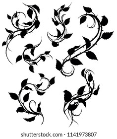 Graphic black silhouette floral rose branch with leaves and thorns. On white background. Vector icon set. Vol. 1