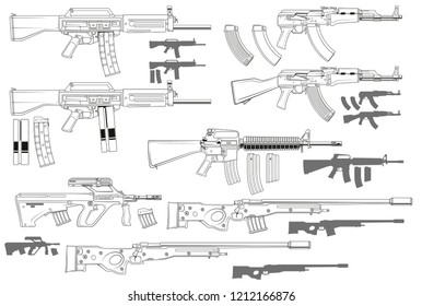 Graphic black and white detailed modern automatic assault and sniper rifles with ammo clip. Isolated on white background. Vector icon set.