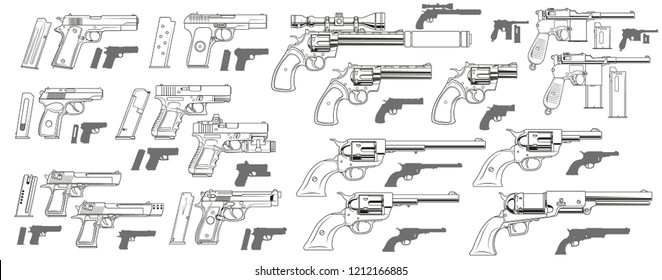 Graphic black and white detailed modern and retro pistols and revolvers with ammo clip. Isolated on white background. Vector icon set.