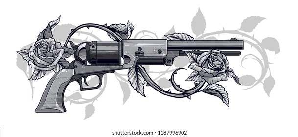 Graphic black and white detailed old revolver with roses, leaves and thorns. On white background. Vector icon.