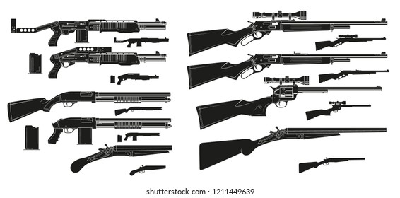 Graphic black and white detailed silhouette modern and retro shotguns and rifles with ammo clip. Isolated on white background. Vector icon set.