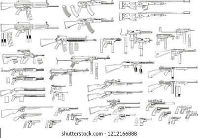 Graphic black and white detailed silhouette pistols, guns, rifles, submachines, revolvers and shotguns. Isolated on white background. Vector weapon and firearm icons set.