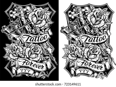 Graphic black and white detailed tattoo machine and roses with ribbons. T-shirt and poster design. Vector set Vol. 1
