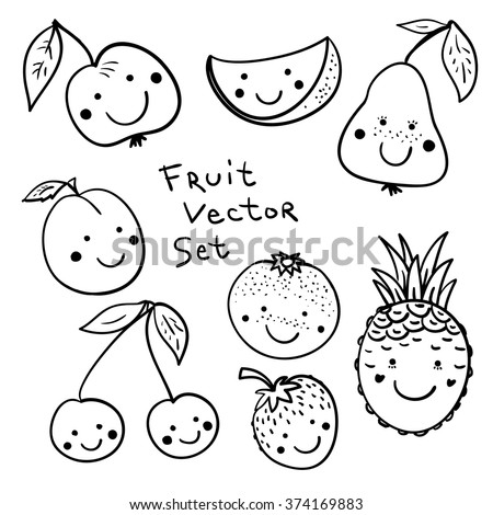 Graphic Black White Drawing Fruits Cute Stock Vector Royalty Free
