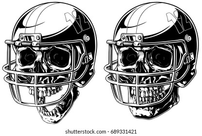 Graphic black and white human skull in american football helmet on white background vector set