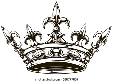 Graphic black and white king crown with royal lily and diamonds vector