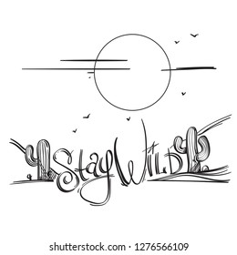 Graphic black and white logo wild west landscape. The inscription between the cacti. Vector image.
