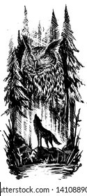 Graphic black and white silhouette howling wolf standing on stone with big owl in forest. Line art style. Vector nature landscape background.