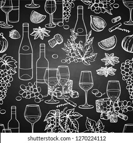 Graphic bottles and glasses of wine decorated with cheese, grapes, figs, star anise and cork. Vector seamless pattern