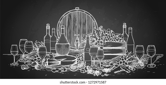 Graphic bottles and glasses of wine decorated with barrels, box, cheese, grapes, figs, star anise and cork on the wooden board. Vector illustration isolated on the chalkboard background