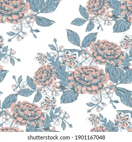 Graphic bouquet for design. Ornament from flowers and leaves on a white background. Floral seamless pattern. Vector illustration.