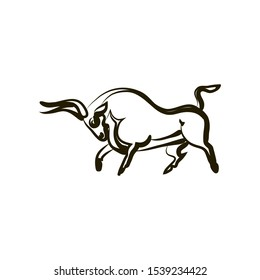 Graphic bull silhouette isolated. Hand drawing. Attacking bull. Side view. Vector black and white illustration. Symbol of strength, power, fertility. Theme for  logo, tattoo, coloring, zenart, icons.