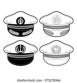 Graphic captain cap drawn in line art style. Nautical vector stuff isolated on white background. Coloring book page design for adults and kids