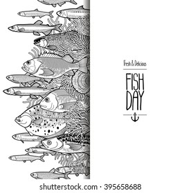 Graphic  card drawn in line art style. Vector sea and ocean creatures for seafood menu. Fish day template isolated on white background. Coloring book page design