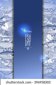 Graphic card drawn in line art style. Vector sea and ocean creatures for seafood menu. Fish day design isolated on white background