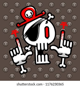 graphic cartoon skull pirate