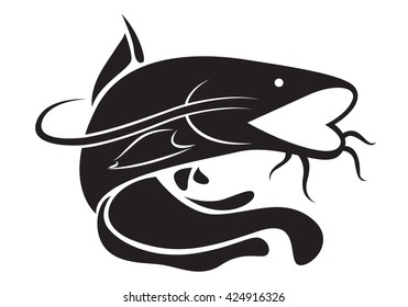 graphic catfish, vector
