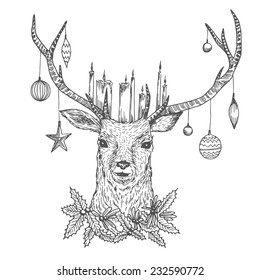 Graphic Christmas deer portrait with candles, misletoe and holiday balls. Vintage outline illustration in vector. Hand drawn sketch art.