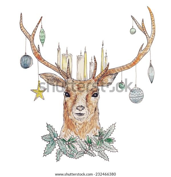 Graphic Christmas Deer Portrait Candles Mistletoe Stock