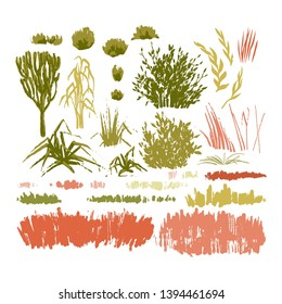 Graphic collection of abstract stainy plants drawn in the technique of rough brush. Vector grass, leaves and bushes isolated on white background