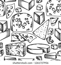 Graphic collection of different types of cheese. Vector seamless pattern