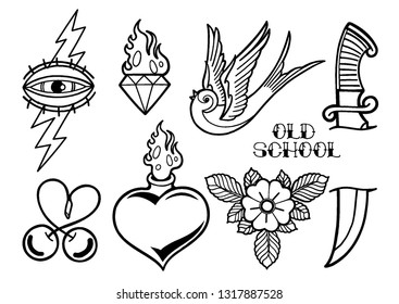 Graphic collection inspired by old school tattoo style. Vector traditional design. Coloring book page for adults and kids