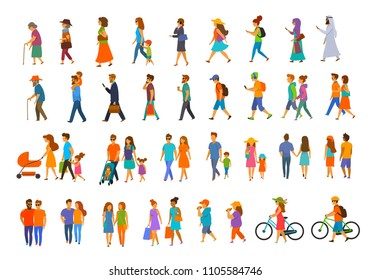 graphic collection of people walking.family couples, parents, men and women different age generation walk with bikes, smartphones, coffee, eat, text, talk. side back and front view isolated vector set