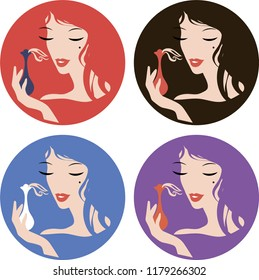 Graphic color silhouette of a woman's face, portrait with parfume. Fashion stylish icon, label, sticker