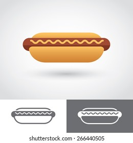 Graphic colored and two monochrome hot dog icons