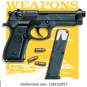 Graphic colorful detailed metallic handgun pistol with ammo clip. Isolated on yellow background. Vector icon. Vol. 1