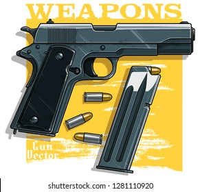Graphic colorful detailed metallic handgun pistol with ammo clip. Isolated on yellow background. Vector icon. Vol. 2