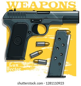 Graphic colorful detailed metallic handgun pistol with ammo clip. Isolated on yellow background. Vector icon. Vol. 3