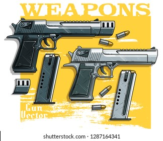 Graphic colorful detailed metallic handgun pistol with ammo clip. Isolated on yellow background. Vector icon. Vol. 4
