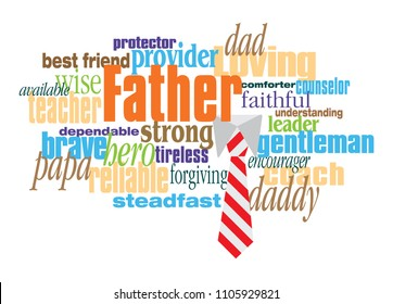 Graphic composition of personality traits of a father.  Art suitable for use as a fun Fathers Day greeting card design or other creative tribute to Dads.