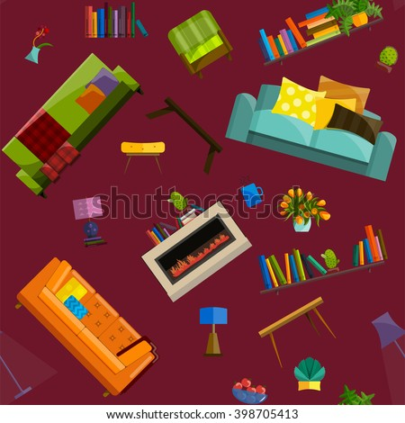 Graphic Concept Home Interior Design Furniture Stock Vector Royalty