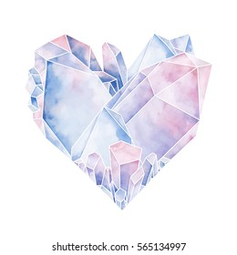 Graphic crystals in the shape of heart. Vector Valentine day design in pastel colors isolated on white background