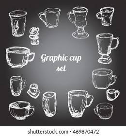 Graphic cup set. Sketch silhouette style. Gradient background. Black and white.
