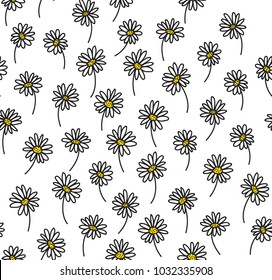 Graphic Daisies Seamless Pattern