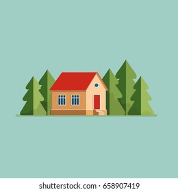 Graphic Decorative house. Landscape in a minimalist style against the background of trees. Buying, selling a hut. Flat Vector illustration.