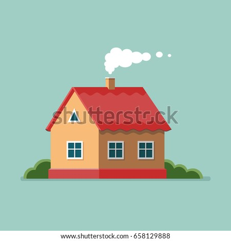 Graphic Decorative House Landscape Minimalist Style Stock Vector