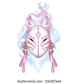 Graphic demon fox mask drawn in pastel pink and white colors with fire flame on background. Traditional attribute of japanese folklore