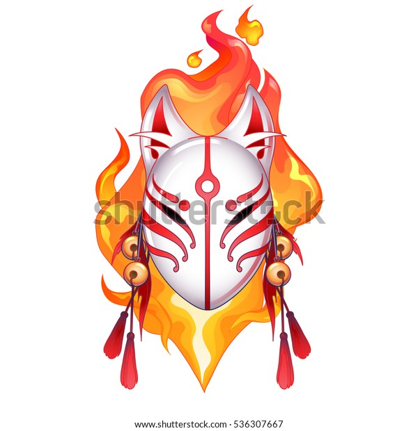 graphic demon fox mask drawn in red and white colors with fire flame on  background