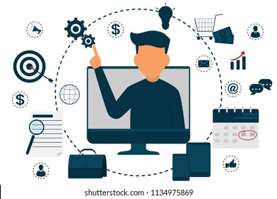 graphic design analysis of statistical data in a computer laptop, working with big data. start up plan. market research and information data. technology 4.0, business teamwork, vector illustration.
