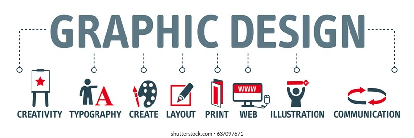 Graphic design. Banner with keyword and icons